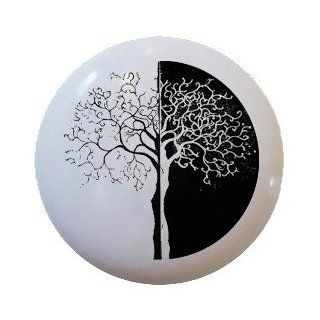 Modern Black and White Tree Ceramic Knobs Pull Kitchen Drawer Cabinet Vanity 561   Cabinet And Furniture Knobs