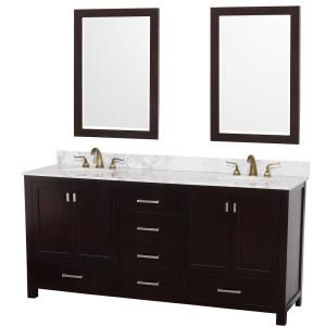Wyndham Collection Abingdon 73 in. Vanity in Espresso with Double Basin Marble Vanity Top in Carrera White and Mirrors DISCONTINUED WCA151572ESCWMI