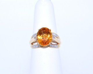 14K Yellow Gold Diamond/Citrine Ring Jewelry