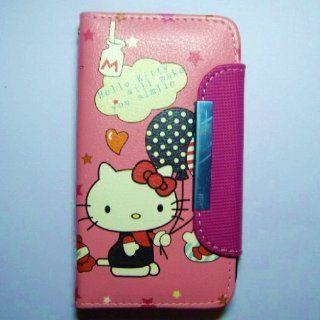 Galaxy S4 Fashionable Cute Hello Kitty Leather Flip Case Cover for Samsung Galaxy S4 / I9500   Balloons Cell Phones & Accessories