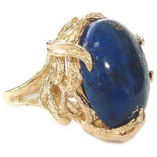 Vintage Lapis Lazuli Cocktail Ring in 14k Yellow Gold Jewelry