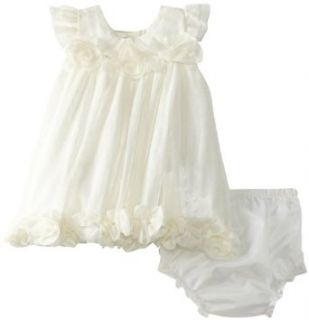 Rare Editions Baby Girls Newborn Mesh Dress, Ivory, 3 6 Months Clothing