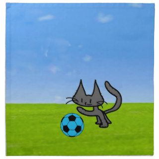 Cat Playing With A Soccer Ball Printed Napkins