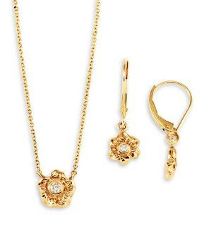 New 14k Yellow Gold Diamond Flower Necklace Earring Set Jewelry Sets Jewelry