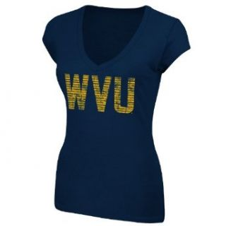 NCAA West Virginia Mountaineers Women's Make The Call V Neck T Shirt, Large Navy  Sports Fan T Shirts  Clothing