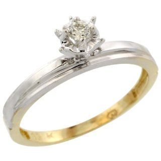10k Yellow Gold Diamond Engagement Ring, 1/8 inch wide Jewelry