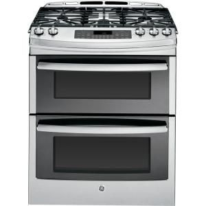 GE Profile 6.7 cu. ft. Slide In Double Oven Gas Range with Self Cleaning Convection Oven in Stainless Steel PGS950SEFSS