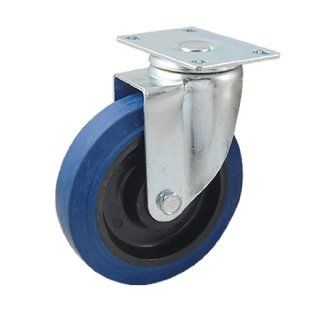 "5"" Blue Black Rubber Plastic Wheel Swivel Metal Top Plate Caster"