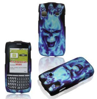 2D Blue Skull Samsung Replenish M580 Boost Mobile , Sprint Case Cover Hard Phone Case Snap on Cover Rubberized Touch Faceplates Cell Phones & Accessories
