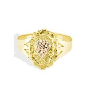 New 14k Two Tone Gold Rose Flower Designer Fashion Ring Jewelry