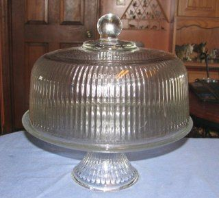 Anchor Hocking Pedestal Cake Plate, Punch Bowl or Fruit Bowl W/ribbed Pedestal & Ribbed Dome Kitchen & Dining