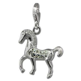 SilberDream Glitter Charm horse with white Czech crystals, 925 Sterling Silver Charms Pendant with Lobster Clasp for Charms Bracelet, Necklace or Earring GSC570W Clasp Style Charms Jewelry