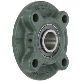 "NTN UKFC205D1 Light Duty Piloted Flange Bearing, 4 Bolts, Adapter Mounted, Regreasable, Contact and Flinger Seals, Cast Iron, 20mm Bore, 3 35/64"" Bolt Hole Spacing Width, 4 17/32"" Height Flange Block Bearings"