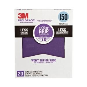 3M 9 in. x 11 in. Pro Grade 150 Grit Medium No Slip Grip Advanced Sandpaper (20 pack) 26150CP P G