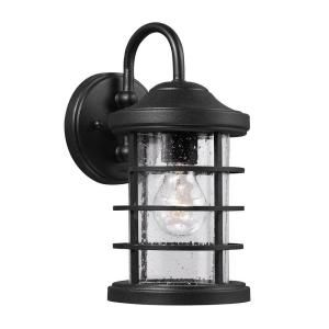 Sea Gull Lighting Sauganash 1 Light Outdoor Black Wall Lantern with Clear Seeded Glass 8524401 12