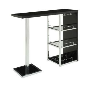 47.25 in. L Glossy Black and Chrome Metal Bar Table I 2342