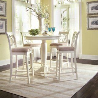 American Drew Camden Round Counter Height Pedestal Table in Buttermilk   Bar Height White Table