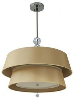 Craftmade 84202 CH Drum Shade Pendant with Gold Leaf and Frosted Acrylic Diffuser Shades, Chrome Finish   Ceiling Pendant Fixtures