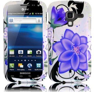 White Purple Flower Hard Cover Case for Samsung Galaxy Exhilarate SGH I577 Cell Phones & Accessories