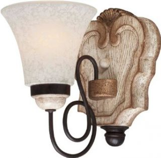 "Minka Lavery 1291 580 1 Light 8.5"" Height Bathroom Sconce from the Accents Provence Collection, Provence Patina   Vanity Lighting Fixtures"