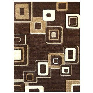 Donnieann Studio 607 Geometric Design 5 by 7 Feet Area Rug, Brown