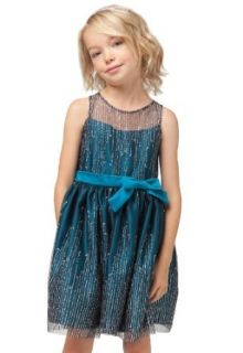 Sweet Kids Girls Stunning Icicle Glitter Mesh Holiday Flower Dress Clothing