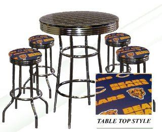 CHICAGO BEARS NFL Football Glass Top Chrome Bar Pub Table Set With 4 Swivel Bar Stools   Home Bars