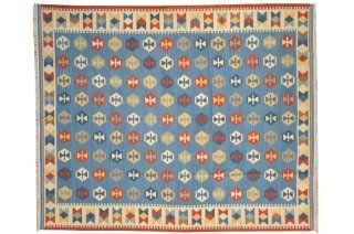 Denim Blue Anatolian Kilim Hand Woven Flat Weave 8' X 10' 100% Wool Rug Sh6931   Hand Knotted Rugs