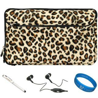 SumacLife Brown Leopard Print Design Covered Neoprene Sleeve Carrying Case Cover for Acer Iconia Tab A700 10 inch Android Tablet + White   Executive Stylus Pen with Laser Pointer and LED Light + SumacLife Black Hifi Noise Reducing Hansdfree Earbuds with Wi