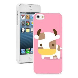 Apple iPhone 5 5S White 5W621 Hard Back Case Cover Color Cute Cartoon Baby Cow Ox on Pink Cell Phones & Accessories