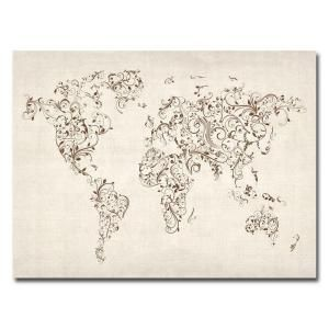 Trademark Fine Art 24 in. x 32 in. World Map   Swirls Canvas Art MT0129 C2432GG