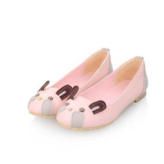 Charm Foot Cute Rabbit Doll Womens Sweet Flat Shoes Casual Shoes Pink Flats Shoes