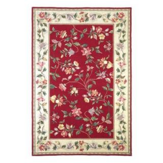 Kas Rugs Morning Vines Crimson/Ivory 8 ft. x 10 ft. 6 in. Area Rug COL17088X106