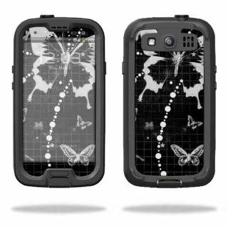 MightySkins Protective Vinyl Skin Decal Cover for LifeProof Samsung Galaxy S III S3 Case fre Sticker Skins Black Butterfly Cell Phones & Accessories
