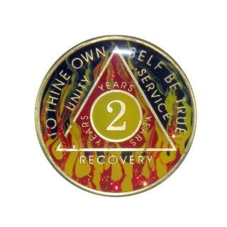 2 Year Premium Enamel AA (Alcoholics Anonymous)   Sober / Sobriety Birthday   Anniversary Recovery Medallion / Coin / Chip   Red Flame  Other Products