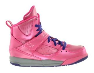 Girls Jordan Flight 45 High (PS) Little Kids Basketball Shoes Pink/Cement Grey Raspberry Red Shoes