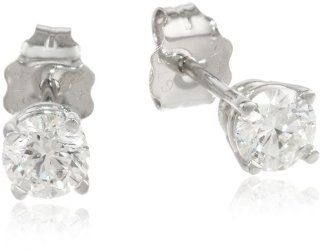 14k White Gold Round Diamond Stud Earrings (1/2 cttw, H I Color, I1 I2 Clarity) Jewelry