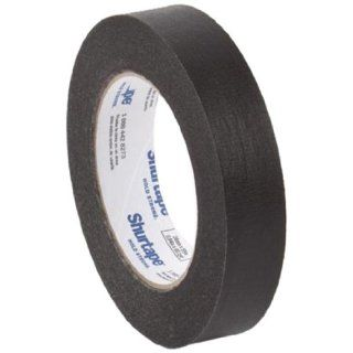 "Pratt Plus CP 632 Shurtape Commercial Premium Heavy Duty Paper Masking Tape, 22 lbs/inch Tensile Strength, 60 yds Length x 1"" Width, 3"" Core, Black (Pack of 12)"
