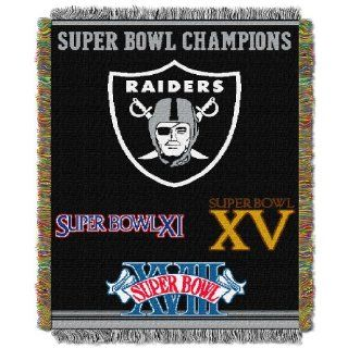 "BSS   Oakland Raiders NFL Super Bowl Commemorative Woven Tapestry Throw (48x60"")"