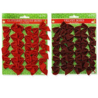 36pc Holiday Christmas Gift Velvet Bows   Adds an Elegant Finishing Touch   Red and Maroon