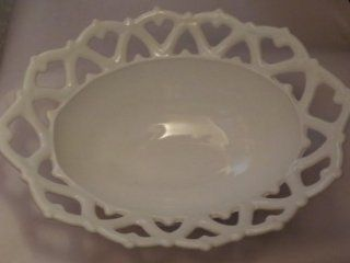 "White Milk Glass Lattice Work Footed Oval Fruit Bowl ?Westmoreland    10.25"" x 8"" x 4""    Lattice Works are Hearts    as shown  Decorative Bowls"