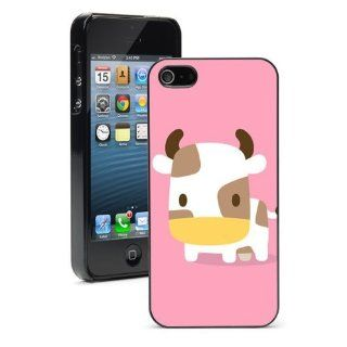 Apple iPhone 4 4S 4G Black 4B621 Hard Back Case Cover Color Cute Cartoon Baby Cow Ox on Pink Cell Phones & Accessories