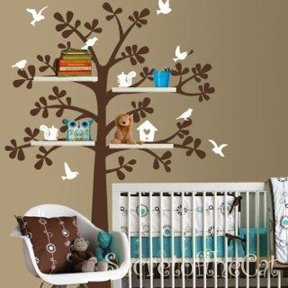 Squirrel Shelving Shelf Tree with Birds Bird House Home Art Decals Wall Sticker Vinyl Wall Decal Stickers Living Room Bed Baby Room 621   Other Products