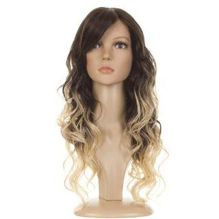 Ombre Long Curly Lace Front Wig  Bouncy Bodywave Curls  Dark Brown/Light Blonde Dip Dyed Effect  Hair Replacement Wigs  Beauty