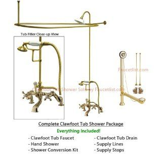 Polished Brass Clawfoot Tub Faucet Shower Kit with Enclosure Curtain Rod 657T2CTS   Clawfoot Bathtubs