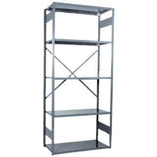 "Equipto 661 5S V Grip 18 Gauge Heavy Duty Steel Open Shelf Starter Unit with 5 Shelves, 650 lbs Shelf Capacity, 36"" Width x 84"" Height x 12"" Depth, Office Gray Tool Utility Shelves"
