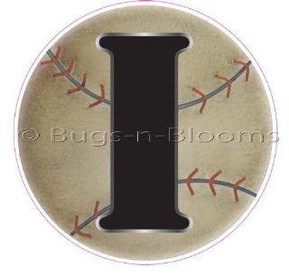 """I"" Baseball Alphabet Letter Name Wall Sticker (5 1/2"" Diameter)   Decal Letters for Children's, Nursery & Baby's Sport Room Decor, Baby Name Wall Letters, Boys Bedroom Wall Letter Decorations, Child's Names. Sports Balls Mur"
