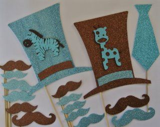 Baby Shower Its a Boy Photo Booth Party Props Mustache on a Stick Blue and Brown Baby Shower Blue Mustaches Health & Personal Care
