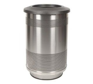 Witt Industries SC55 01 SS FT 55 Gallon Perforated Trash Can w/ Flat Top Lid, Stainless Finish, Each Kitchen & Dining