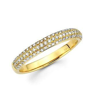 14k Yellow Gold Round Diamond Pave Dome Ring Band .42ct (G H Color, I1 Clarity) Anniversary Rings Jewelry